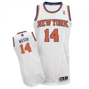 New York Knicks #14 Adidas Home Blanc Authentic Maillot d'équipe de NBA Remise - Anthony Mason pour Homme